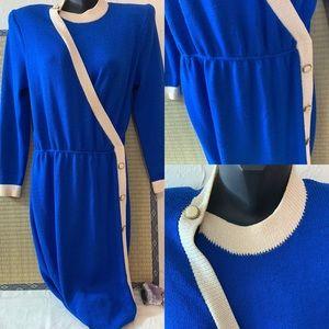 ST JOHN BLUE VINTAGE DRESS SZ M BLUE /CREAM AS IS